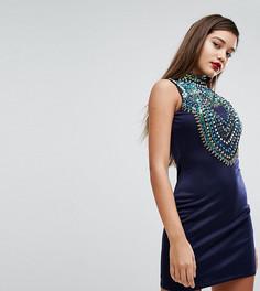 Трикотажное облегающее платье с переливающейся отделкой A Star Is Born - Темно-синий
