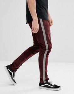 Бордовые зауженные брюки с полосой по бокам ASOS - Красный