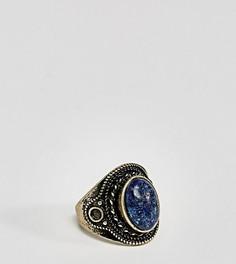 Золотистое кольцо с темно-синим камнем ASOS PLUS - Серебряный
