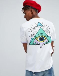 Свободная футболка с принтом на спине ASOS - Белый