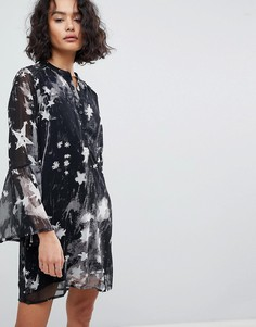 Платье с V-образным вырезом и звездным принтом Religion - Черный