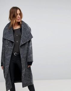 Длинное пальто с леопардовым принтом Religion - Серый