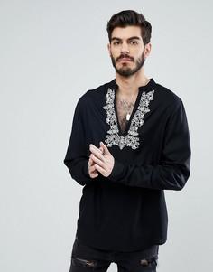 Рубашка классического кроя с вышивкой ASOS - Черный