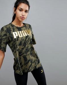 Футболка бойфренда цвета хаки Puma Rebel - Зеленый