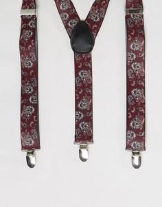 Подтяжки с принтом пейсли 7X - Красный