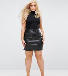 Облегающая мини-юбка из искусственной кожи со шнуровкой NaaNaa Plus - Черный