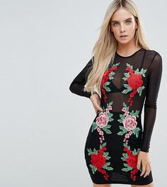 Сетчатое облегающее платье мини с цветочной аппликацией NaaNaa Petite - Черный