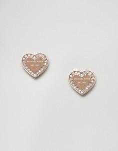 Золотисто-розовые серьги-гвоздики в форме сердца Michael Kors - Золотой