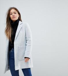 Фактурное пальто узкого кроя ASOS PETITE - Серый