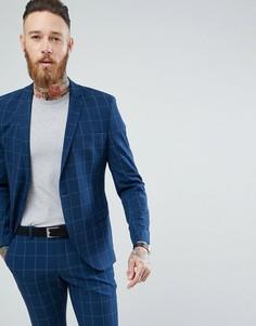 Приталенный пиджак в клетку Selected Homme - Синий