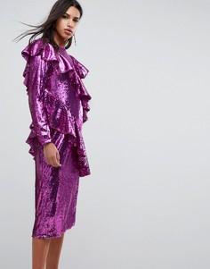 Платье миди с пайетками ASOS - Розовый