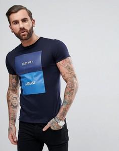 Темно-синяя футболка узкого кроя с круглым вырезом и принтом Emporio Armani - Темно-синий