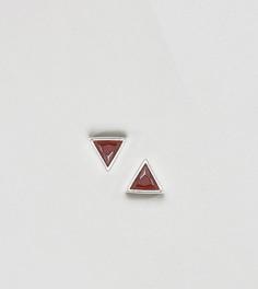 Серебряные треугольные серьги-гвоздики с цирконием DesignB London - Серебряный