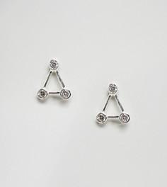 Серебристые треугольные серьги-гвоздики с камнями DesignB London - Серебряный