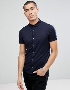 Темно-синяя узкая рубашка с короткими рукавами Emporio Armani - Темно-синий