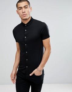 Черная узкая рубашка с короткими рукавами Emporio Armani - Черный