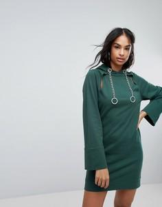 Трикотажное платье с капюшоном, цепочками и вырезами ASOS - Зеленый