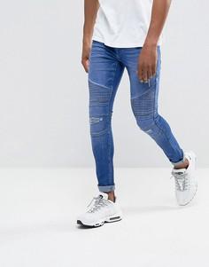 Синие байкерские джинсы скинни с рваной отделкой и напылением DML - Синий