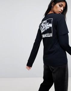 Двухслойная футболка oversize от Vans - Черный