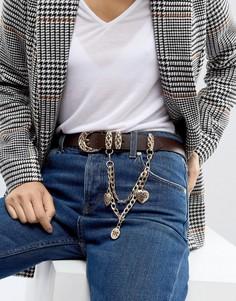 Ремень для джинсов с подвеской ASOS - Коричневый