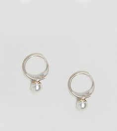 Серебряные серьги-кольца с искусственным жемчугом Kingsley Ryan - Серебряный