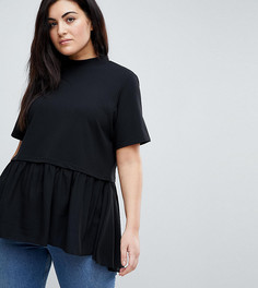 Свободная футболка с баской Lost Ink Plus - Черный