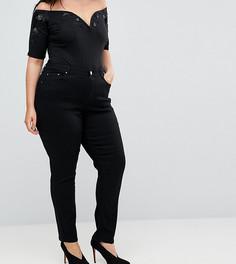 Джинсы слим в винтажном стиле Lost Ink Plus - Черный