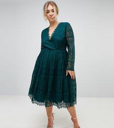 Кружевное платье миди для выпускного с длинными рукавами ASOS CURVE - Зеленый