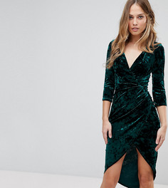 Бархатное платье миди с запахом и высоким разрезом TFNC - Зеленый