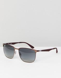 Коричневые квадратные солнцезащитные очки Ray-Ban 0RB3569 - 59 мм - Коричневый