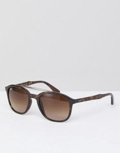 Квадратные черепаховые солнцезащитные очки Ray-Ban 0RB4290 - 53 мм - Коричневый