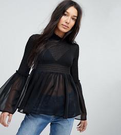 Блузка со сборками и рукавами клеш ASOS TALL - Черный