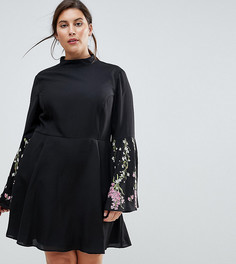 Короткое приталенное платье с расклешенными рукавами и вышивкой ASOS CURVE - Черный