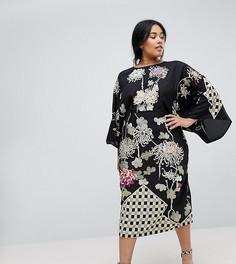 Платье-кимоно миди с вышивкой ASOS CURVE - Мульти