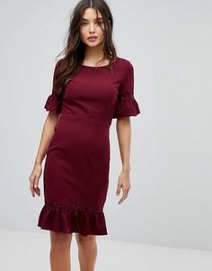 Платье миди с оборками на рукавах и по нижнему краю Paperdolls - Фиолетовый