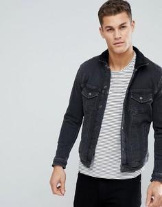 Джинсовая куртка с подкладкой из искусственного меха Jack & Jones Intelligence - Черный