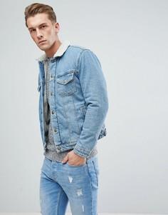 Джинсовая куртка с подкладкой из искусственного меха Jack & Jones Intelligence - Синий