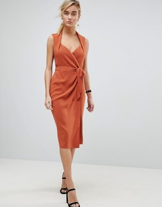Платье миди с шалевым воротником и запахом ASOS - Коричневый