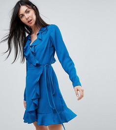Платье мини с длинными рукавами и оборками ASOS TALL - Синий