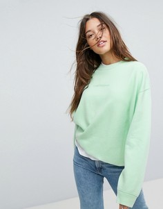 Свитшот с однотонным логотипом Calvin Klein Jeans - Зеленый