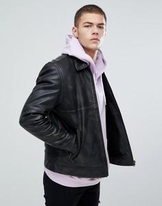 Черная кожаная куртка с подкладкой из искуcственного меха ASOS - Черный