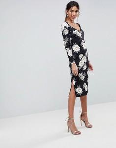 Платье-футляр миди с вырезом сердечком и цветочным принтом ASOS - Мульти