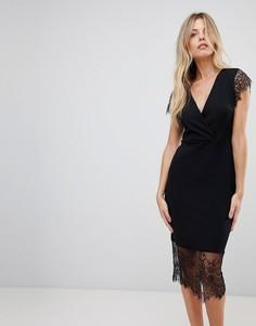 Платье-футляр с V-образным вырезом и кружевными рукавами ASOS - Черный