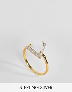Кольцо с треугольным лунным камнем и стразами Carrie Elizabeth - Золотой