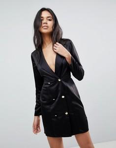 Атласное платье мини с золотистыми пуговицами и открытой спиной ASOS - Черный