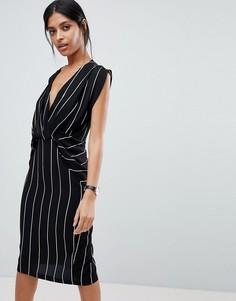 Платье миди в полоску с драпировкой ASOS - Мульти