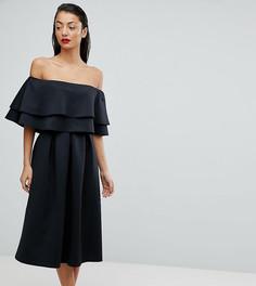 Платье миди с оборками и открытыми плечами ASOS TALL - Черный