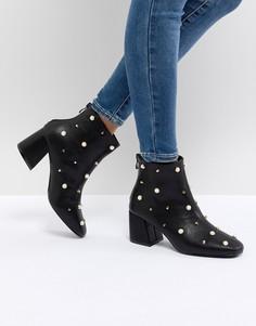 Ботильоны на каблуке с искусственным жемчугом Glamorous - Черный