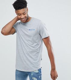 Серая футболка с логотипом на груди Nicce London TALL - Серый