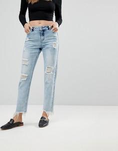 Укороченные рваные джинсы прямого кроя Urban Bliss - Синий